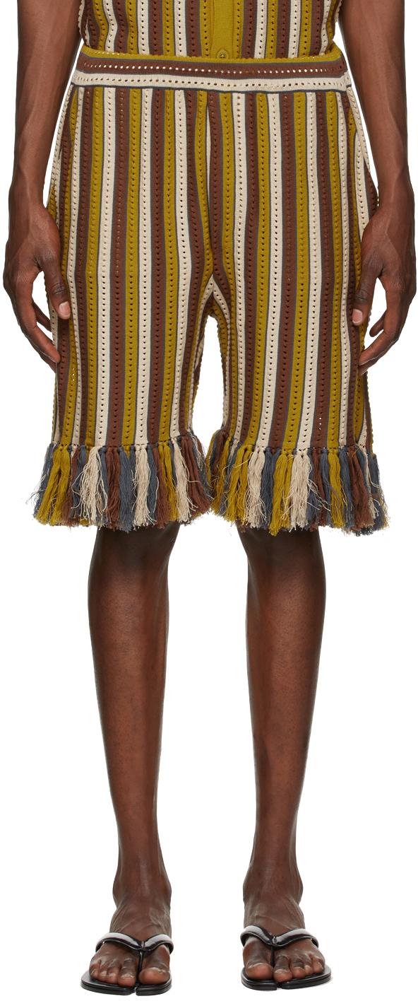 Brown Striped Alvar Shorts