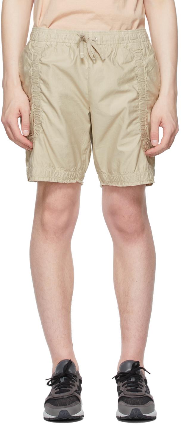 Beige Cotton Poplin Frame Shorts