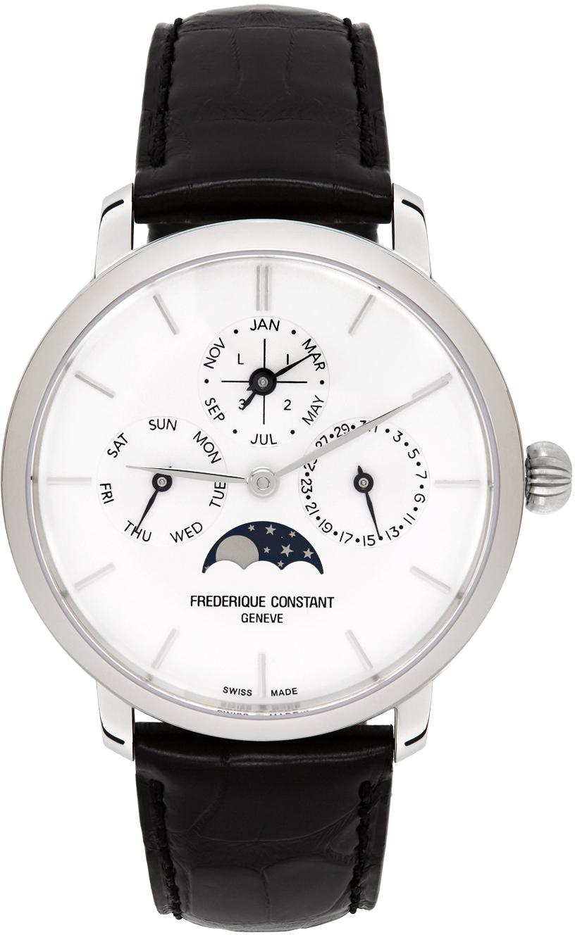 Silver & Black Slimline Perpetual Calendar Watch