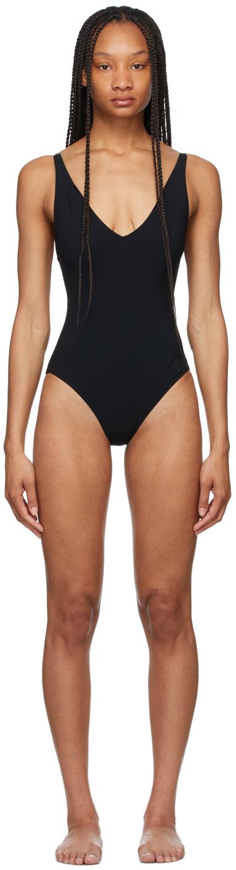 Tot�me Black Deep Neck One-Piece Swimsuit