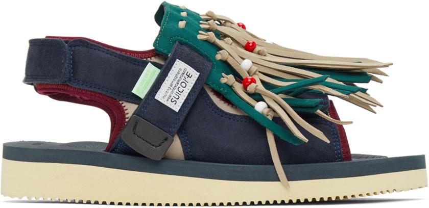 Suicoke 绿色 & 米色 WAS-4AB 凉鞋
