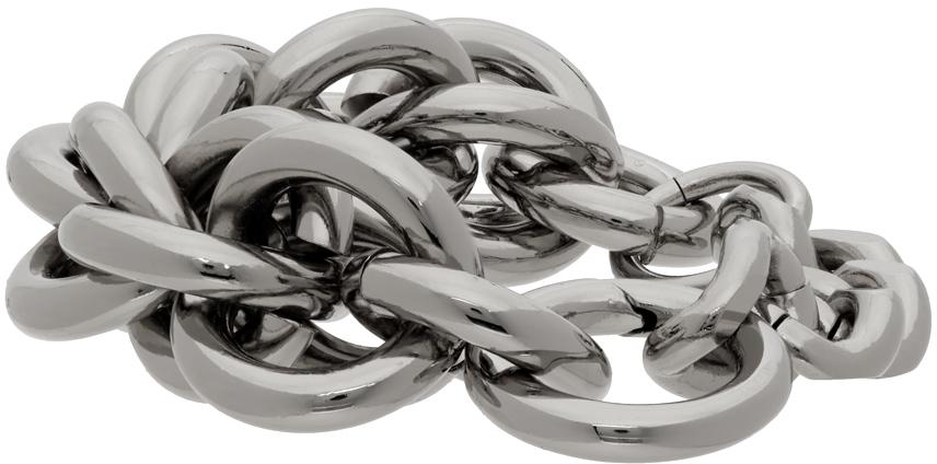 1017 ALYX 9SM Silver Leather Details Chunky Chain Bracelet 211776F007002
