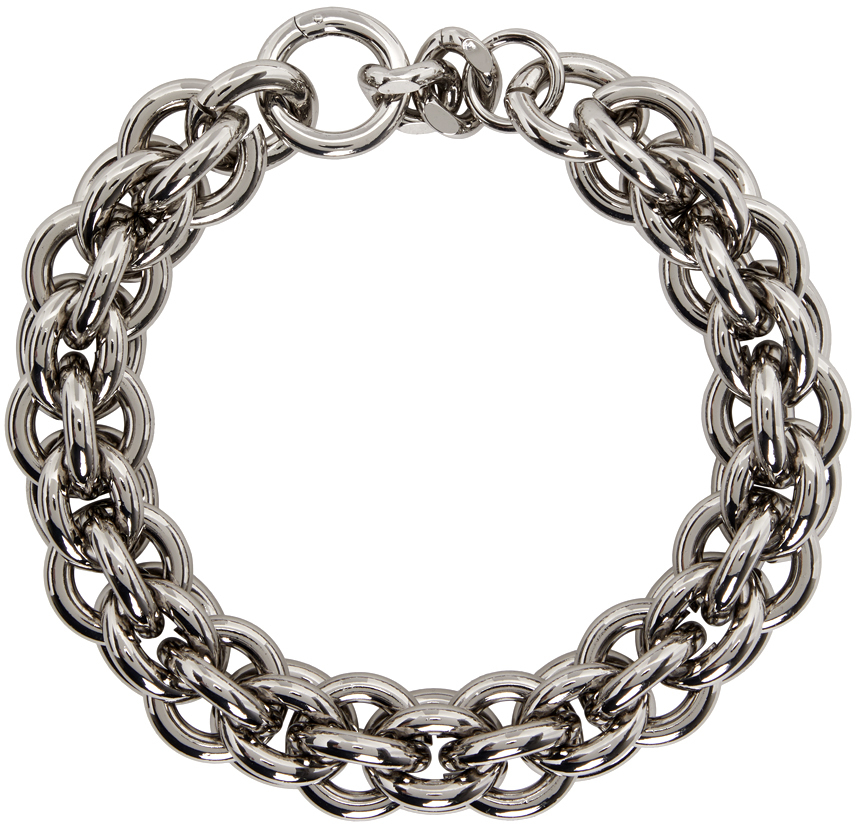 1017 ALYX 9SM Silver Leather Details Chunky Chain Necklace 211776F010002