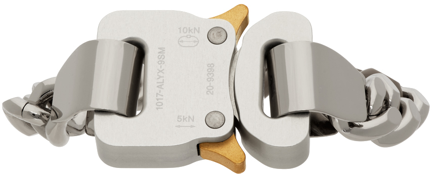 1017 ALYX 9SM SSENSE Exclusive Silver Colored Link Buckle Bracelet 211776F020068