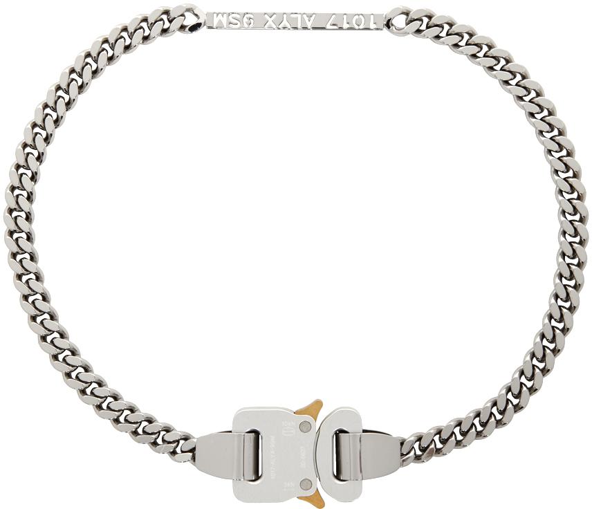 1017 ALYX 9SM Silver ID Buckle Necklace 211776F023059