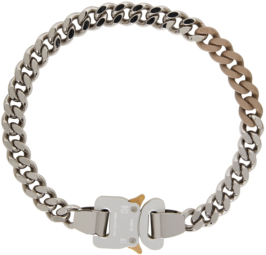1017 ALYX 9SM SSENSE Exclusive Silver Beige Colored Links Buckle Necklace 211776F023068