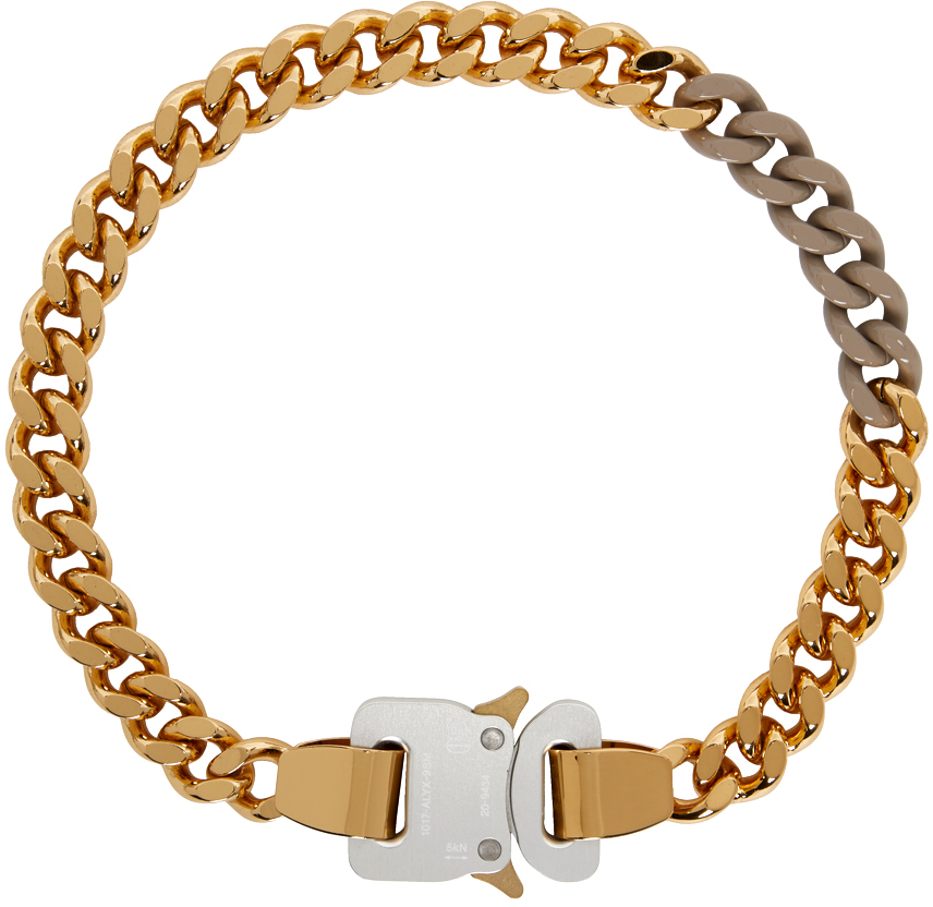 1017 ALYX 9SM SSENSE Exclusive Gold Beige Colored Links Buckle Necklace 211776F023069