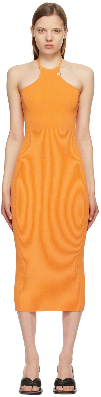 1017 ALYX 9SM Orange Ribbed Knit Tank Dress 211776F054039