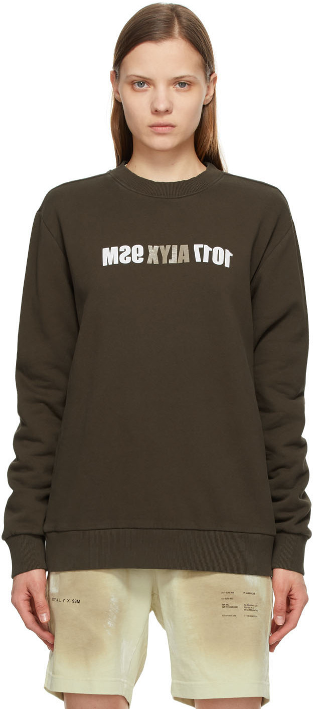 1017 ALYX 9SM Brown Mirrored Logo Sweatshirt 211776F098008