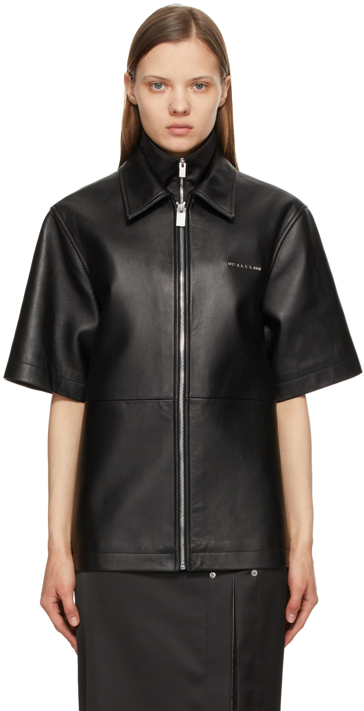 1017 ALYX 9SM Black Leather Double Collar Short Sleeve Shirt 211776F109021