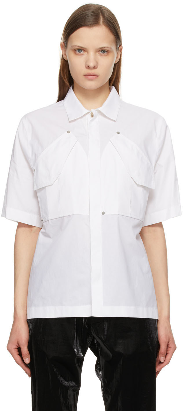 1017 ALYX 9SM White Cargo Short Sleeve Shirt 211776F109025
