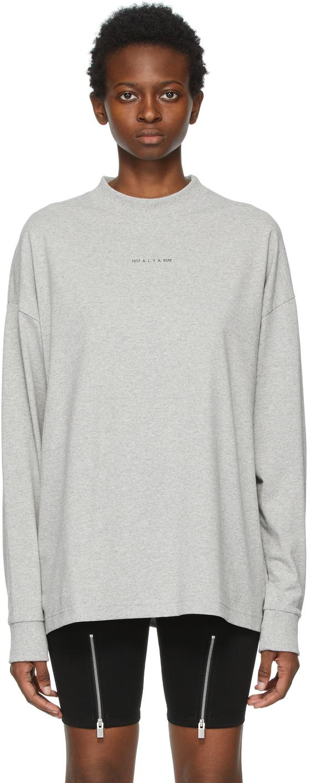 1017 ALYX 9SM Grey Visual Logo Long Sleeve T Shirt 211776F110011