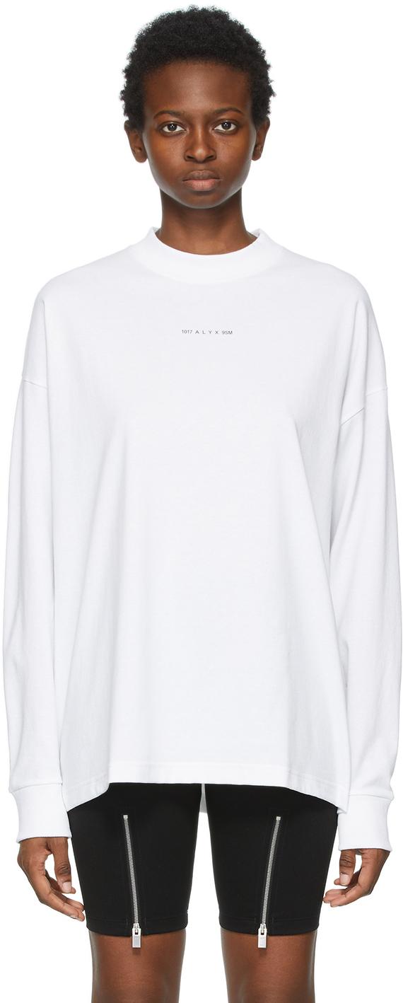 1017 ALYX 9SM White Visual Logo Long Sleeve T Shirt 211776F110012