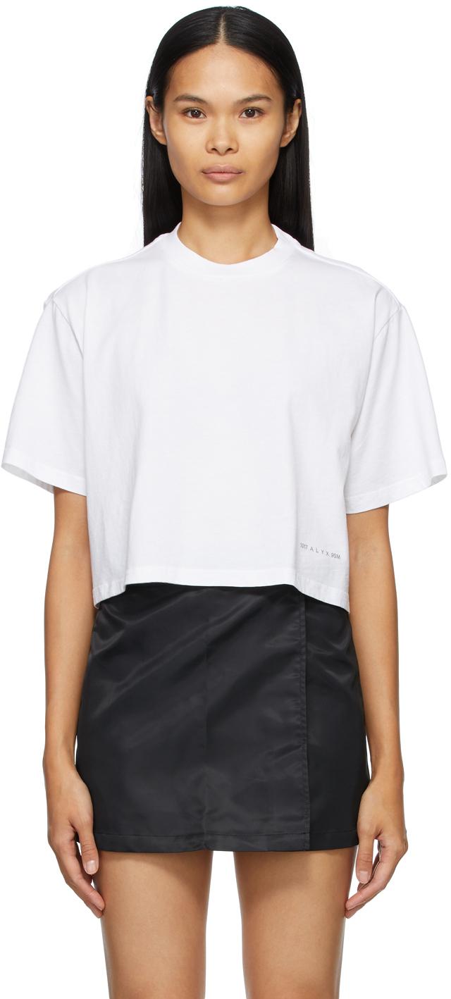 1017 ALYX 9SM White Cropped Logo T Shirt 211776F110021