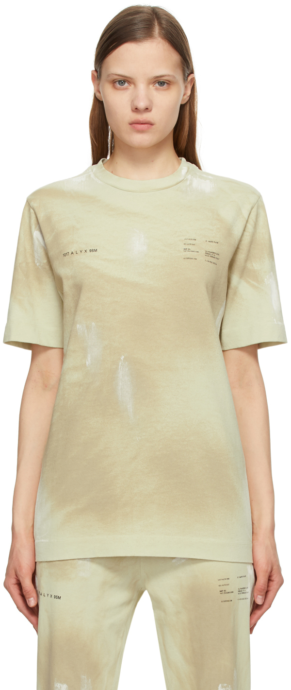 1017 ALYX 9SM Beige Printed Double Logo T Shirt 211776F110025