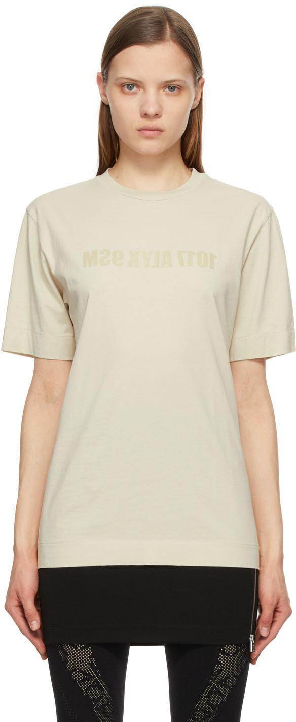 1017 ALYX 9SM Beige Mirrored Logo T Shirt 211776F110027