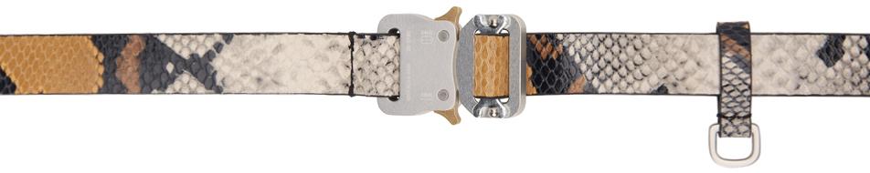 1017 ALYX 9SM Grey Tan Animal Print Medium Rollercoaster Belt 211776M131011