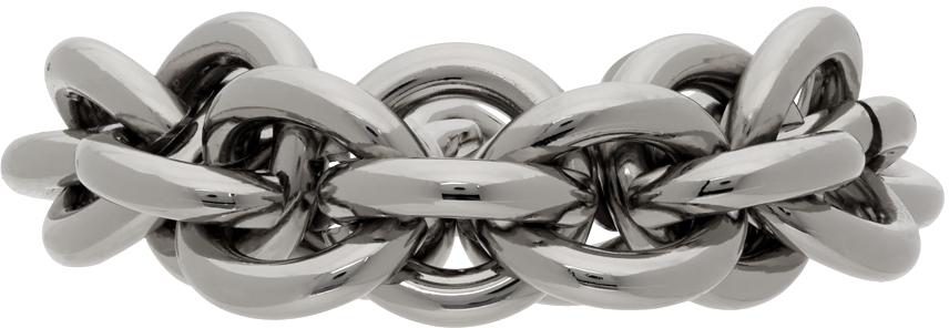 1017 ALYX 9SM Silver Leather Details Chunky Chain Bracelet 211776M142016