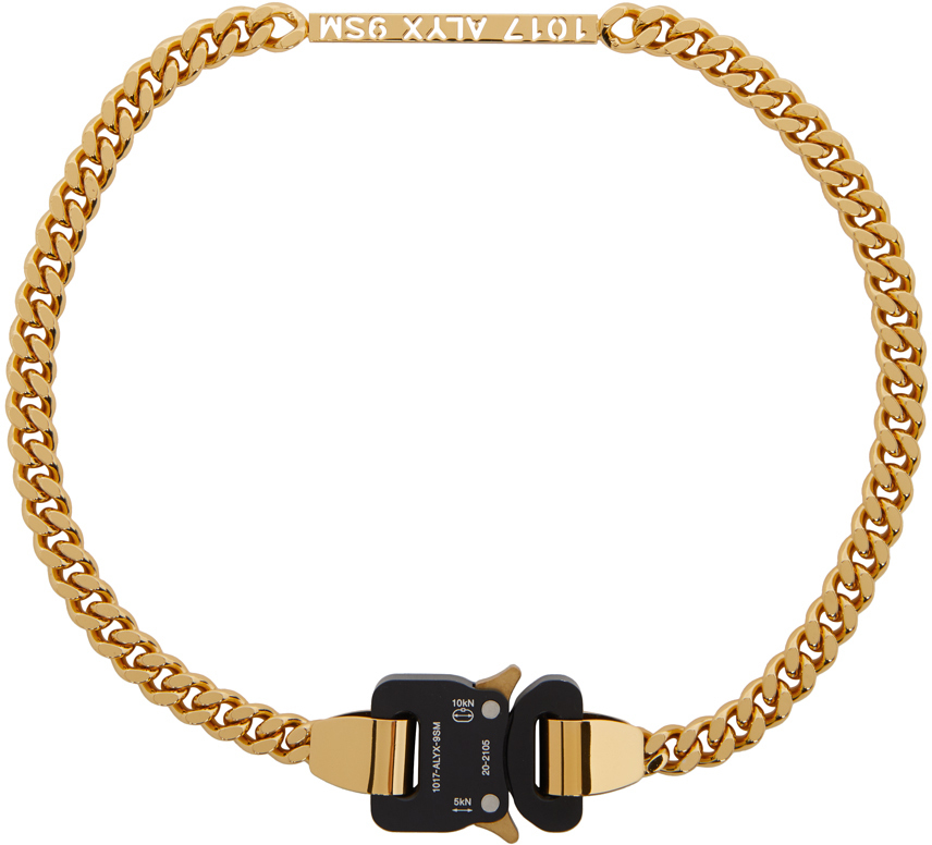 1017 ALYX 9SM Gold ID Buckle Necklace 211776M145004