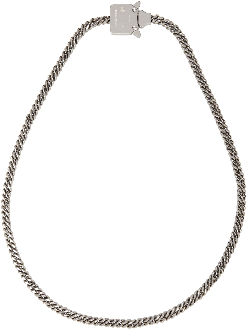 1017 ALYX 9SM Silver Cubix Mini Necklace 211776M145008