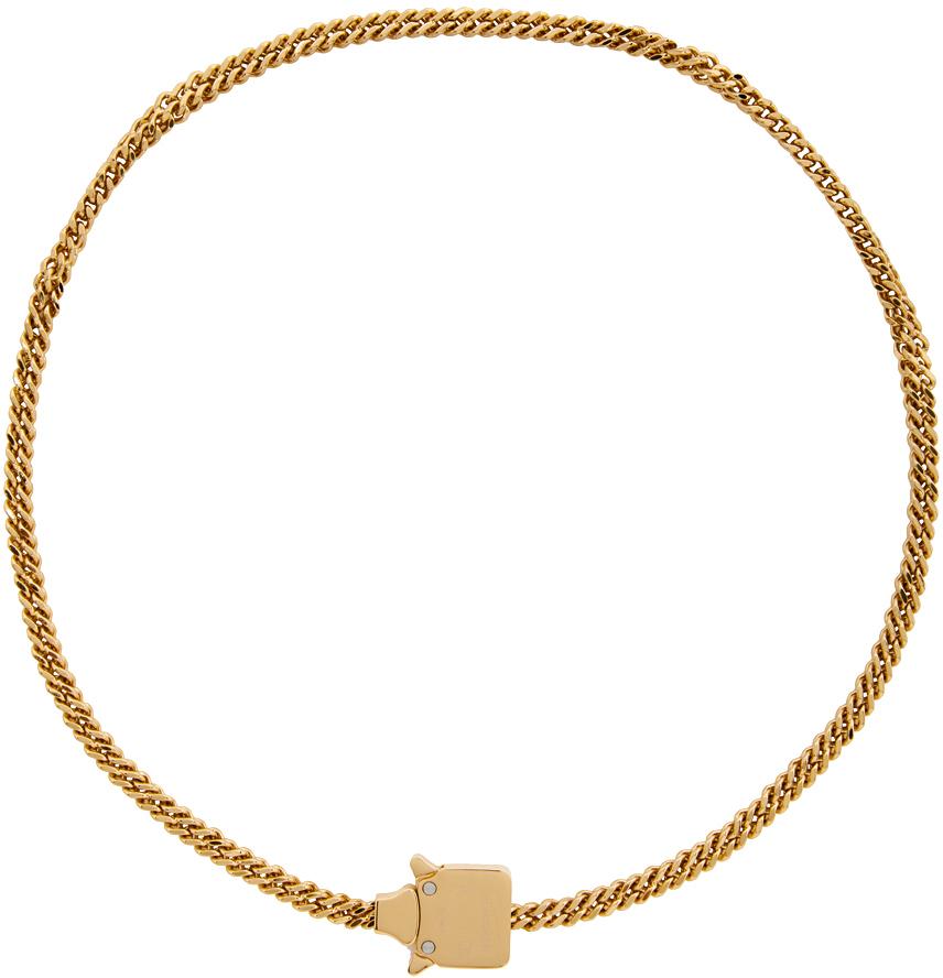 1017 ALYX 9SM Gold Mini Cubix Chain Necklace 211776M145009