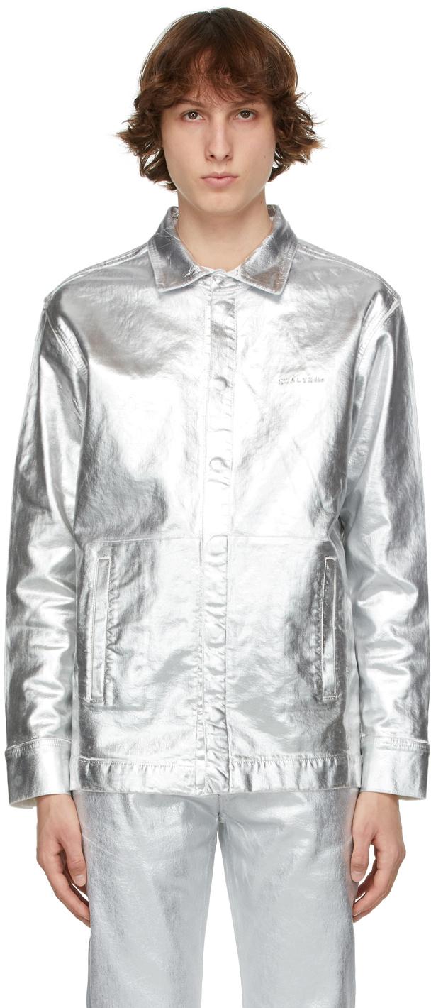 1017 ALYX 9SM Silver Foil Denim Jacket 211776M192004