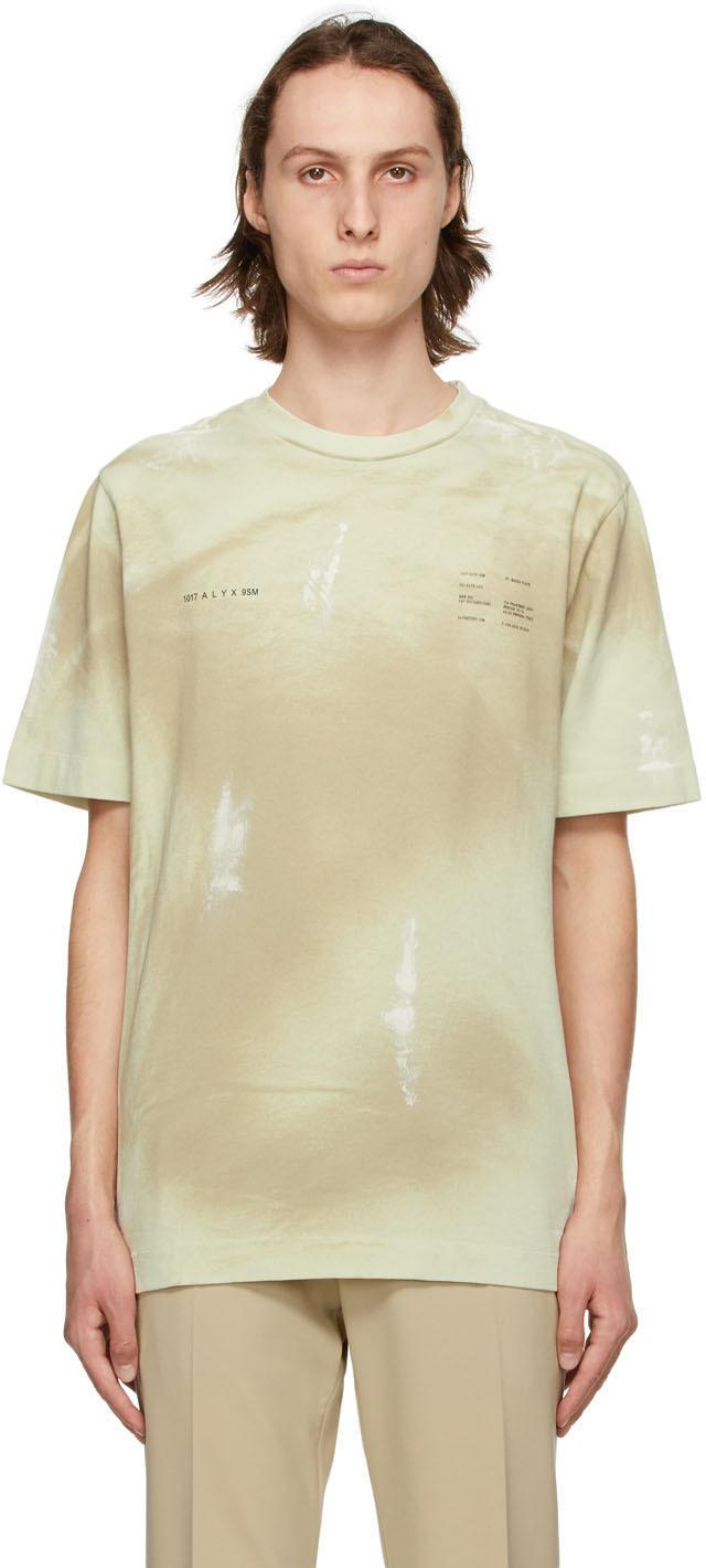 1017 ALYX 9SM Beige Printed Double Logo T Shirt 211776M213019