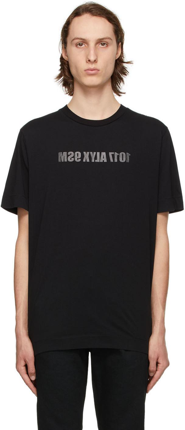 1017 ALYX 9SM Black Mirrored Logo T Shirt 211776M213020