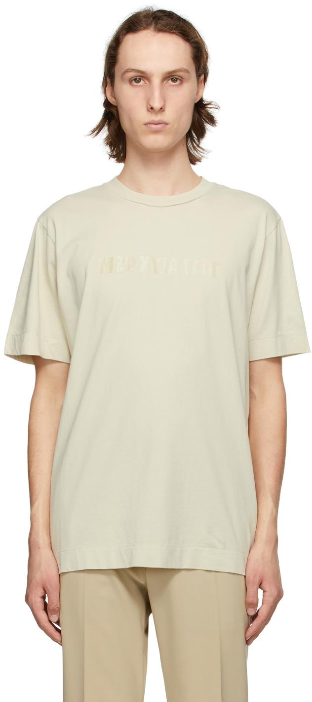 1017 ALYX 9SM Beige Mirrored Logo T Shirt 211776M213021