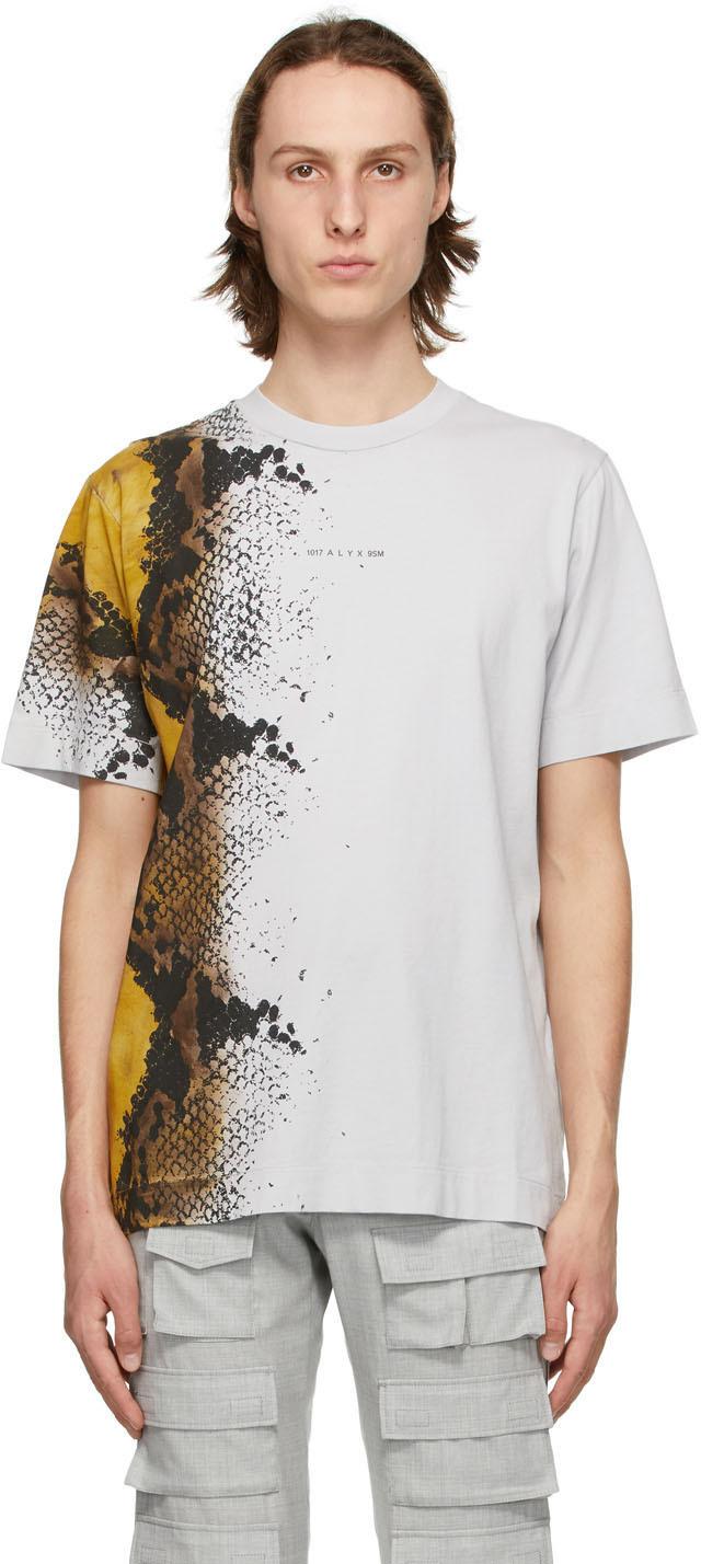 1017 ALYX 9SM Grey Animal Print T Shirt 211776M213031
