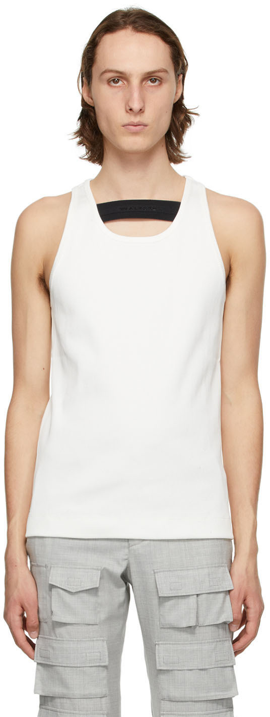 1017 ALYX 9SM White Ribbed Tank Top 211776M214002