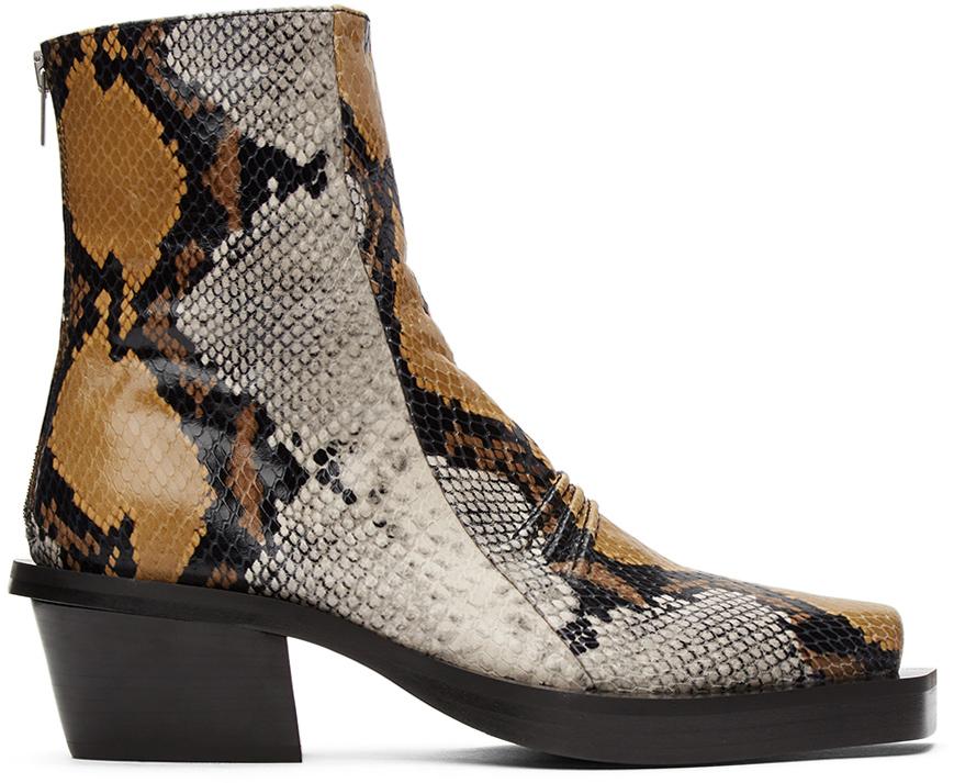 1017 ALYX 9SM Brown Snake Leone Zip Boots 211776M228002