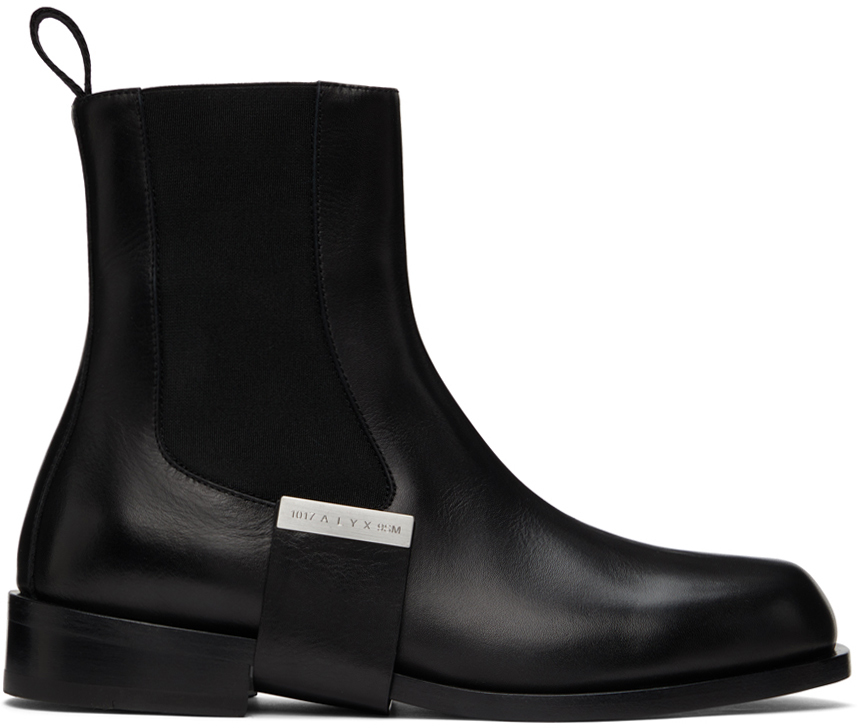 1017 ALYX 9SM Black Leather Strap Chelsea Boots 211776M228006