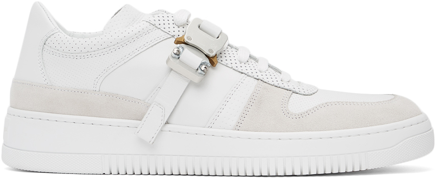 1017 ALYX 9SM White Leather Buckle Sneakers 211776M237005