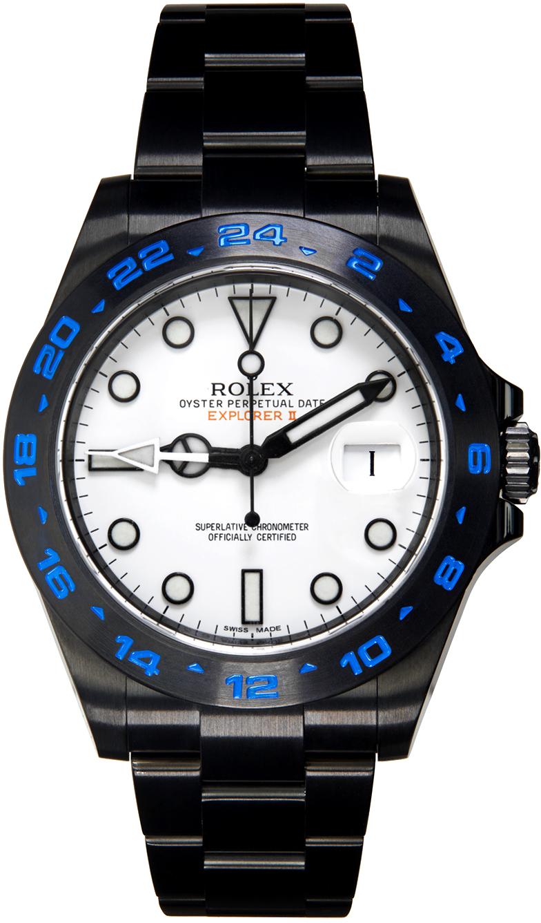 Black & Blue Customized Rolex Explorer II Watch