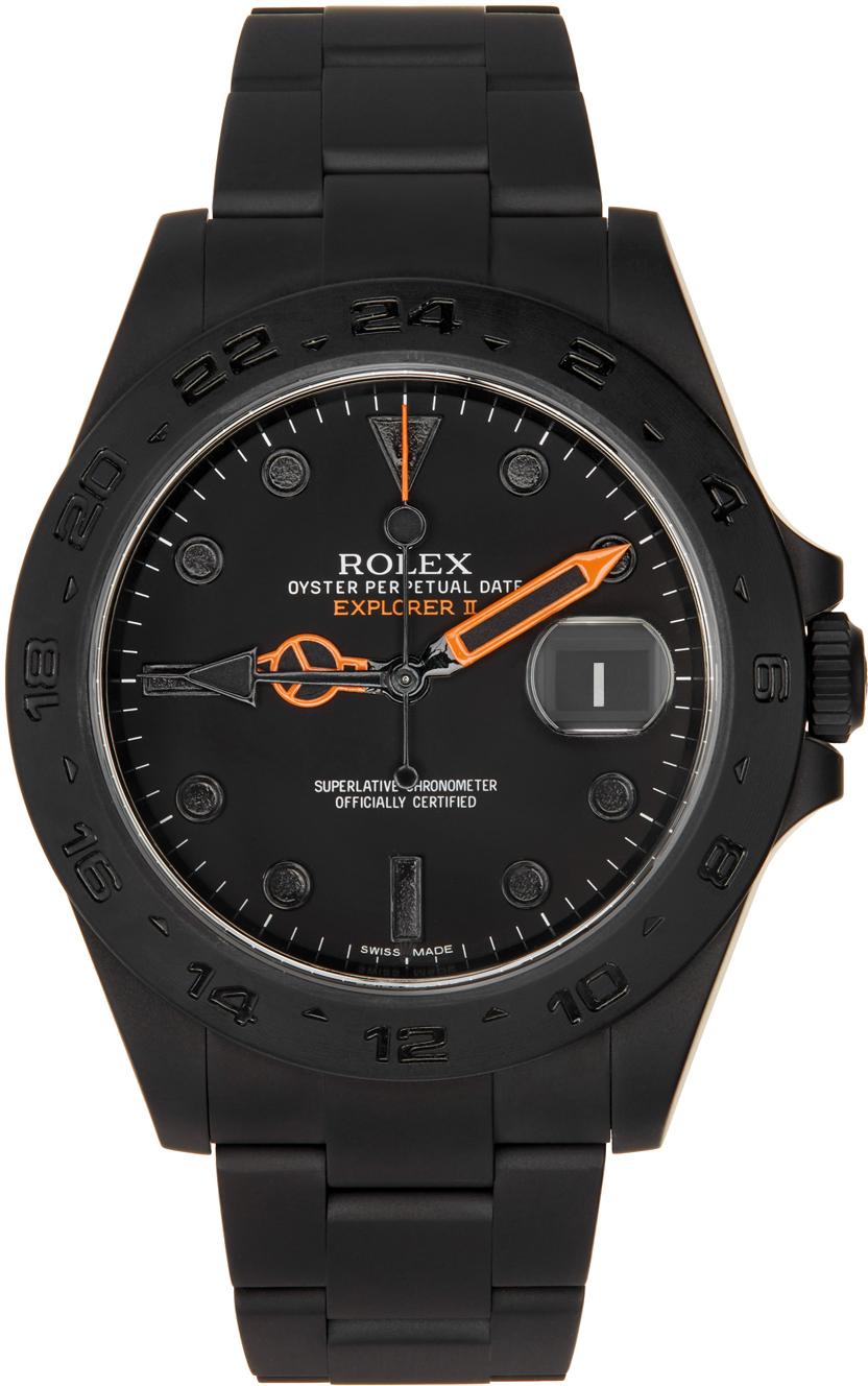 Black & Orange Customized Rolex Explorer II Watch