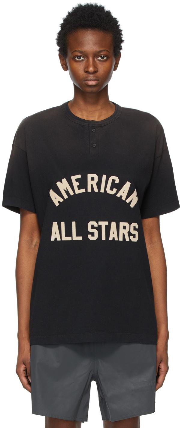 Black 'All Stars' Henley T-Shirt