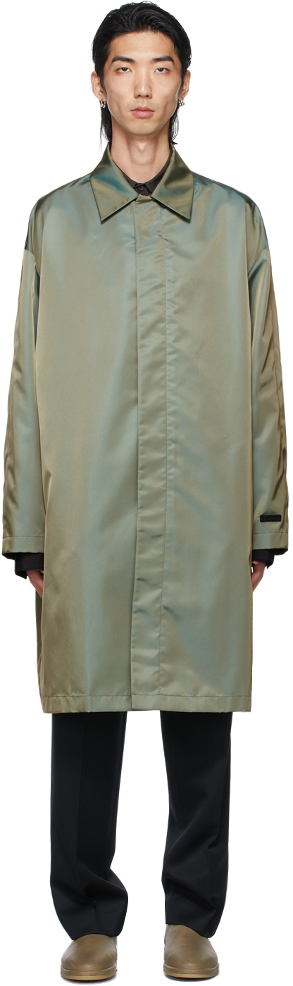 Fear Of God Iridescent Single-breasted Trench Coat In Green Iride