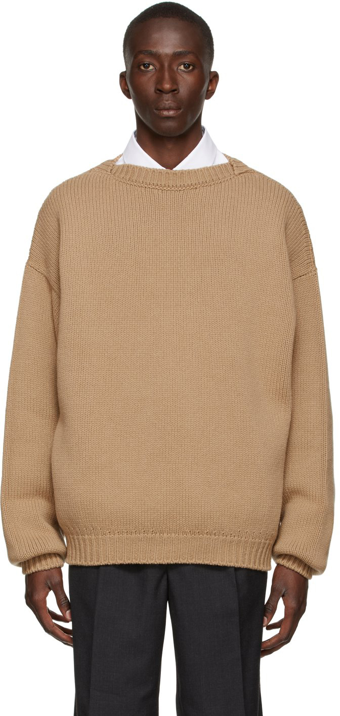 Beige Knit Overlapped Sweater