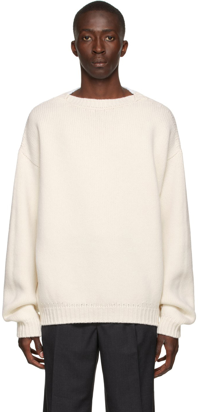 White Knit Overlapped Sweater