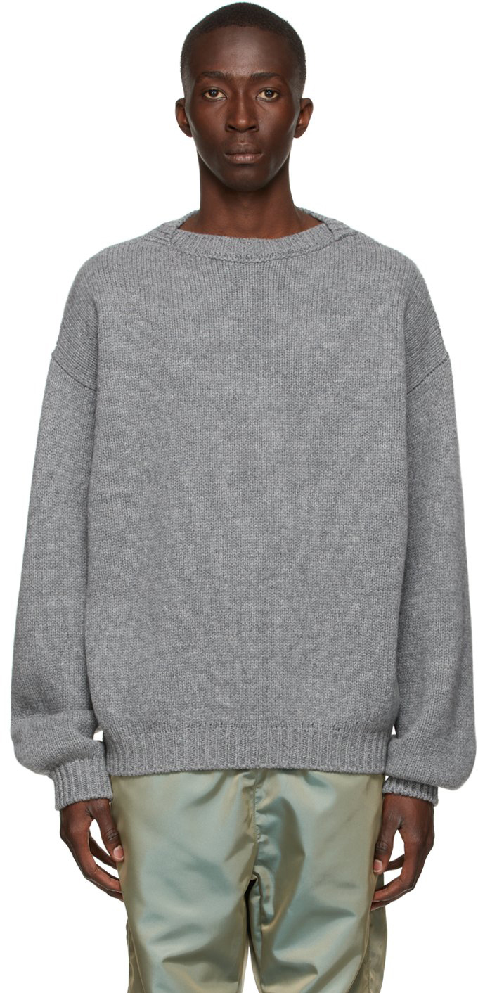 Grey Knit Overlapped Sweater