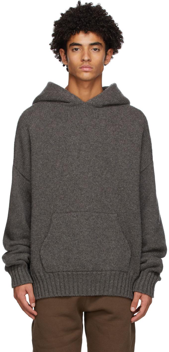 Grey Brushed Knit Hoodie