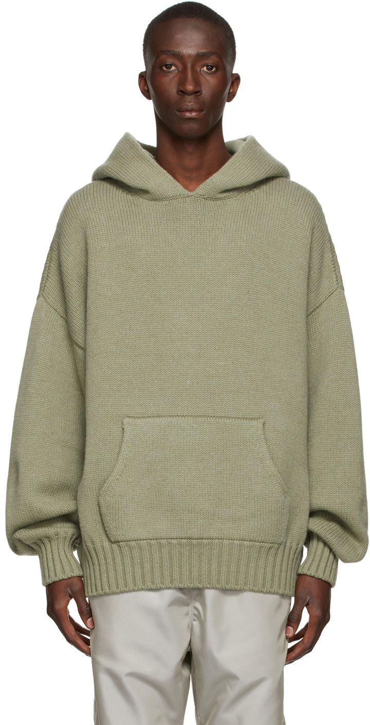 Khaki Brushed Knit Hoodie