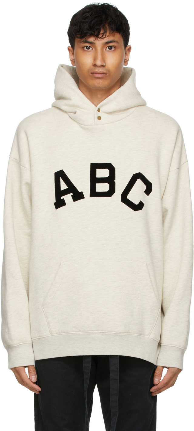 Fear Of God Alphabet Print Cotton Fleece Hoodie In Cream Heath