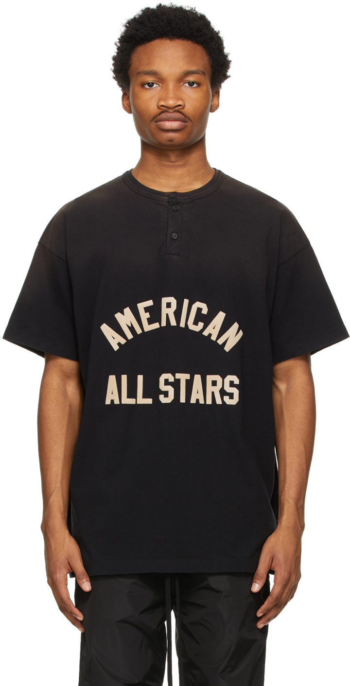 Black 'American All Stars' Short Sleeve Henley