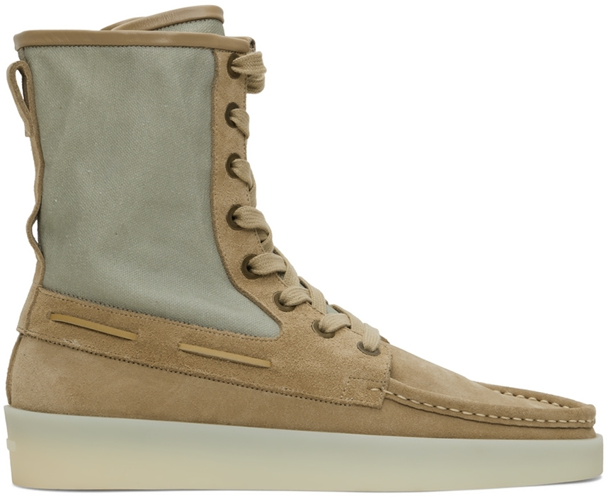 Taupe & Green Boat Boots