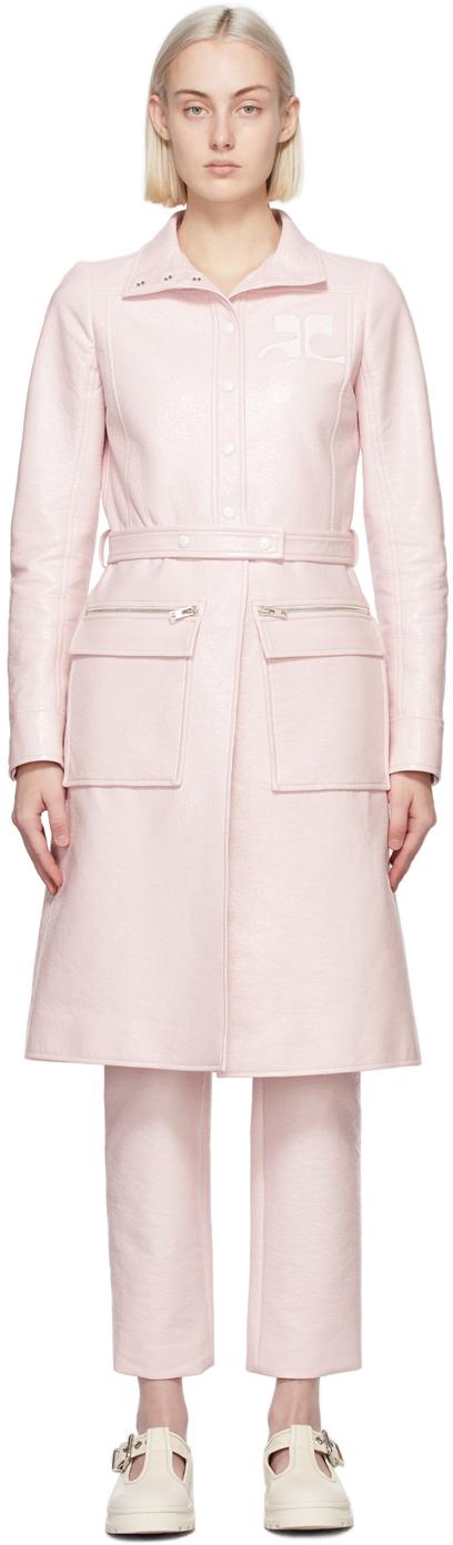 Pink Vinyl Trench Coat