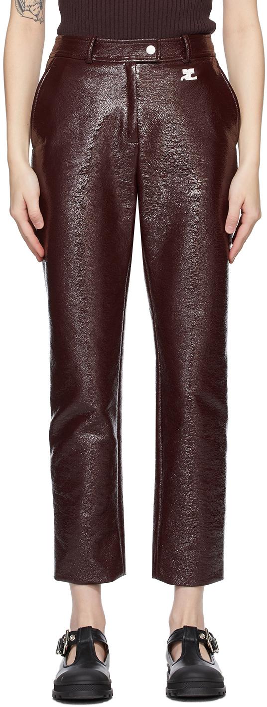 Burgundy Vinyl Trousers
