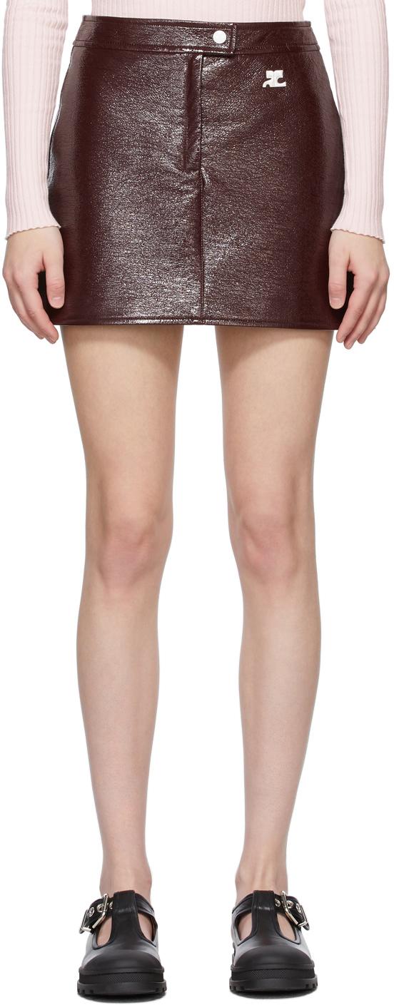 Burgundy Vinyl Miniskirt
