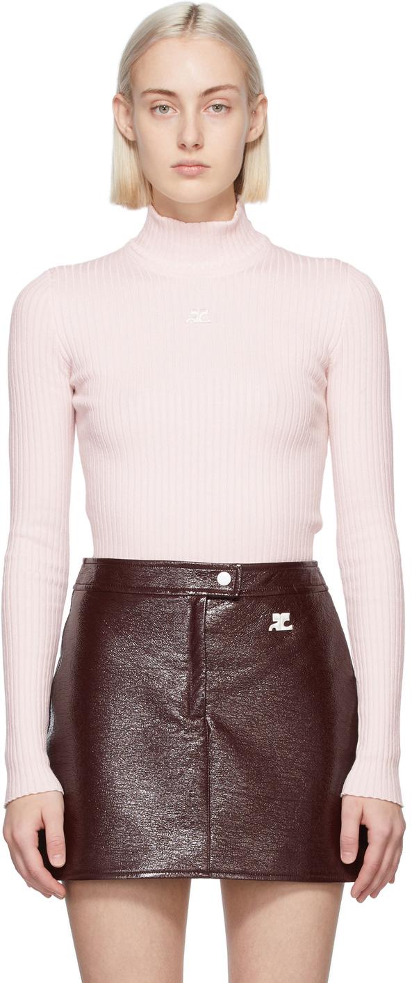 Pink Rib Knit Turtleneck